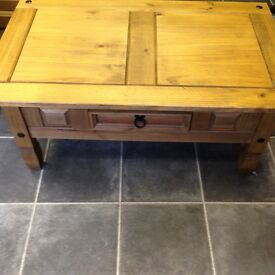 SOLID PINE AND IRON WORK AND DRAWER COFFEE TABLE