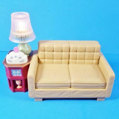 Fisher Price Loving Family DollHouse Sofa Couch Lamp Lights Up & Music Work RARE