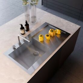 New handmade brushed stainless steel kitchen sink