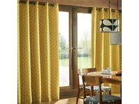 "NEW Orla Kiely Woven Acorn Cup Eyelet Curtains-Dandelion (W)167X(D)228cm/66""X 90""RRP £120"