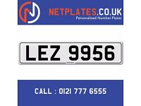 'LEZ 9956' Personalised Number Plate Audi BMW Ford Golf Mercedes VW Kia Vauxhall Caravan van 4x4
