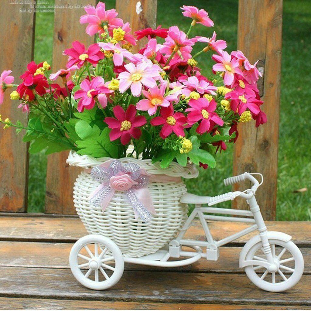 Rattan Blumen Dreirad Fahrrad Korb fuer Blumen Vase Deko Blumentopf Garten