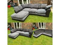 Lovely grey & black fabric corner sofa can be delivered