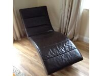 Leather chaise long. Day bed. Recliner Brown sofa