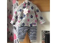 NEW BABY GIRLS ROCK A BUY BABY 2 PEICE PADDED SUIT 3/6 MONTHS