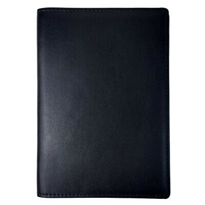 Genuine Leather Passport Holder RFID Blocking Travel Wallet Case Black