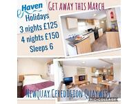 3 bedroom deluxe caravan sited at Haven Quaywest Holiday Park. Newquay SW Wales.