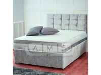 BRAND NEW CRUSH VELVET FABRIC DOUBLE KINGSIZE DIVAN BED BASE WITH MATTRESS OF CHOICE IN BLACK SILVER