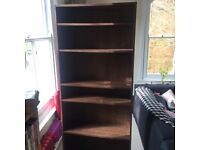 Tall bookcase - dark wood with adjustable height shelves