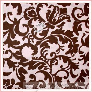 BonEful-Fabric-FQ-Brown-Baby-Nursery-Light-PINK-Flower-Paris-Toile-Cotton-Damask
