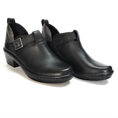 NEW Klogs Odyssey Women 10 Leather Platform Pump Clogs Black Silver Monk Strap