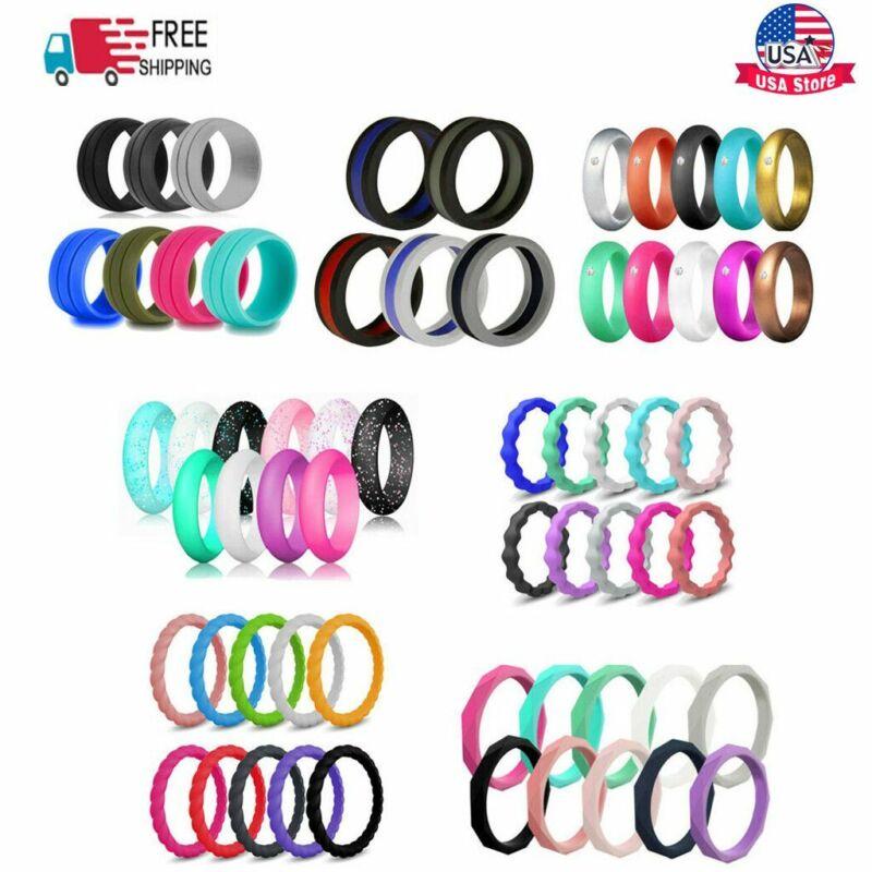 5/7/10pcs Flexible Silicone Ring Men Women Rubber Wedding Band Size 5-10 2021