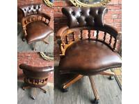 An original chesterfield captains chair/office chair brown leather.
