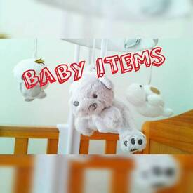 Baby items (bath support, swing, cot mobile, carrier)