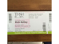 Rick Astley Birmingham Symphony Hall x2 Tickets 16th April 2017