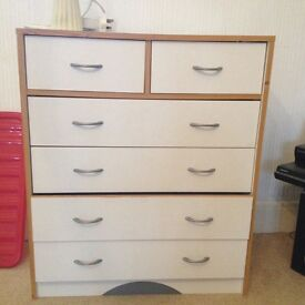 White wardrobes + drawers and bedside tables