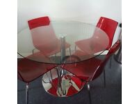HABITAT GLASS TOP TABLE & 4 RED CHAIRS
