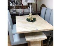 Creama engineered marble dining table