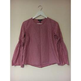 Pink and white striped blouse size 8