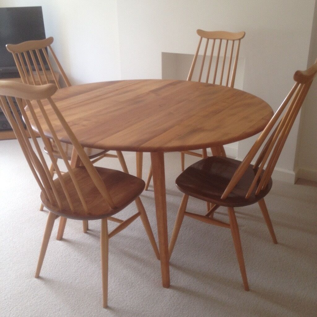 Round Dining Tables For 4: Ercol RESTORED Retro Blonde Round Dining Table + 4 Ercol