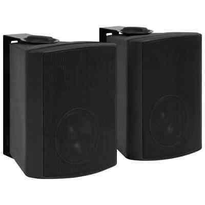 vidaXL 2x Altavoces Estéreo de Pared Negro Interior/Exterior 100 W Bass Reflex