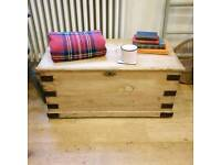 Victorian pine trunk, toy box, storage box, coffee table