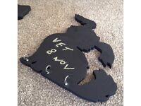 Dog shaped chalkboard with hooks for keys