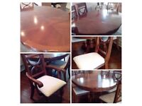 Period dining table and 6 chairs