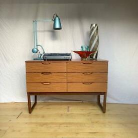 Vintage Europa small sideboard tv stand chest of drawers mid century 1960s