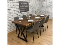 Handmade Solid Pine Rustic Industrial Dining Table and Chairs
