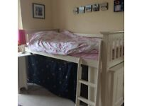 Mid Sleeper. Gorgeous, single, Julian Bowen Cameo Mid Sleeper with under cupboard and pull out desk