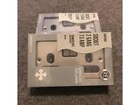 5 x 2 Gang 13 amp plug sockets - flat plate - stainless steel
