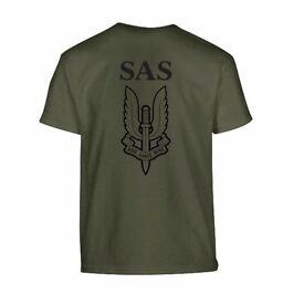 Kombat Kids Army Style T-Shirt Green SAS Logo Fancy Dress Short Sleeve