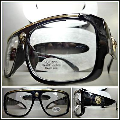 Herren Klassisch Vintage Retro Stil Klar Gläser Brillen Schwarz Gold Mode Frame