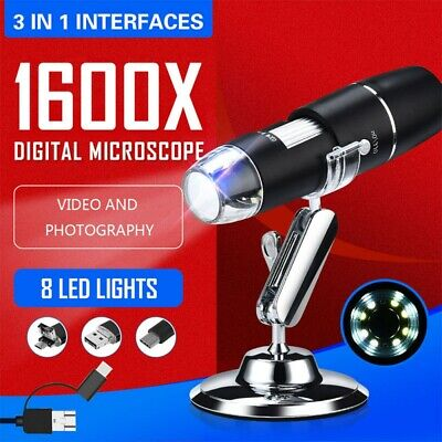 Portable 3 In 1 8led 1600x Digital Microscope Endoscope For Mac Windows Android