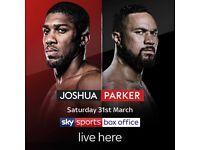 Joshua Vs Parker Boxing Screened Live
