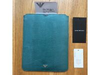Genuine Giorgio Armani sleeve i pad case in snake embossed soft calf leather in light blue