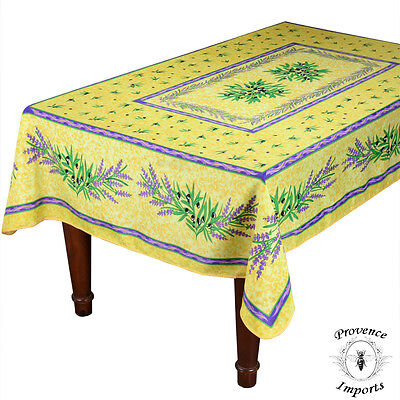 "Matisse Yellow French Provencal Spot Resistant Tablecloth - 59x88"" Rectangular"