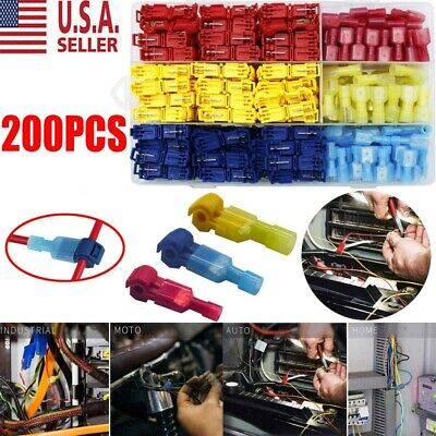 200x Insulated T-Taps Quick Splice Wire Terminal Connectors Combo Kit 22-10 AWG