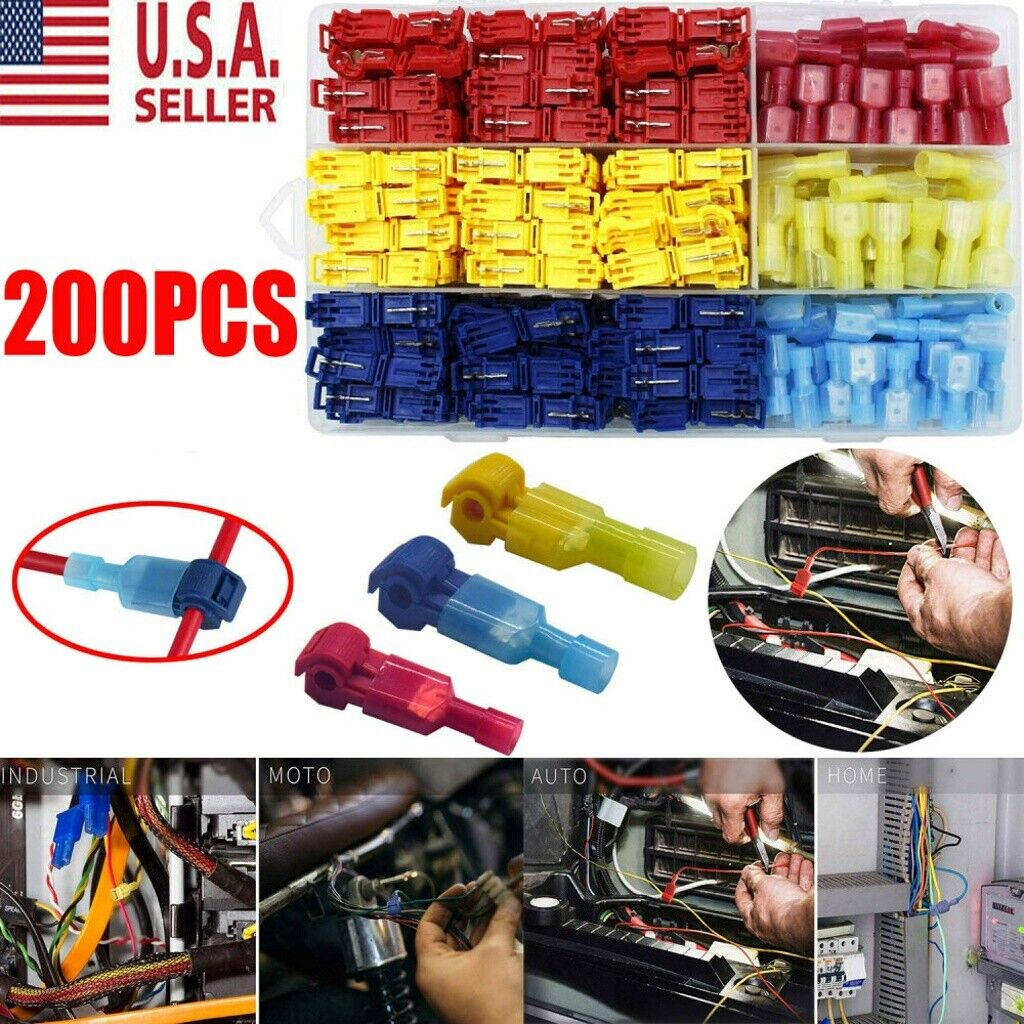 200pc Waterproof 22-10 AWG T-Tap Quick Splice Wire Terminal Connectors Combo Kit