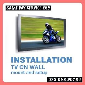 Tv on wall mount