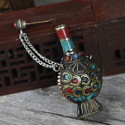 MagiDeal Vintage Tibetan Small Snuff Bottles Nepal Handcraft Pendant Craft A