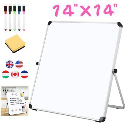 Magnetic Dry Erase White Board 14x14 Portable Double-sided Home School Writing