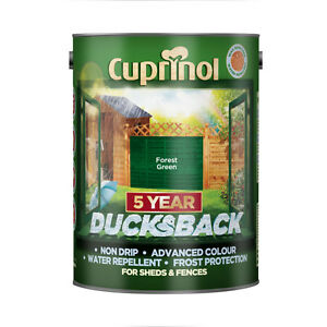 Cuprinol 5 Year Ducksback Shed & Fence Forest Green Paint Stain 5 Litre
