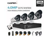 CASPERi 5In1 In/Outdoor 4.0MP CCTV Cameras (x4) with 4CH DVR Kit & 1TB HDD