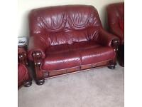 Red leather suite £200