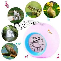 7 Colors LED Change For Children Digital Alarm Clock Kids Home Time Thermometer