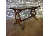 19c Antique Lyre End Coffee/Side Table On Castors
