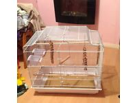 LARGE WHITE BIRD CAGE NEARLY NEW