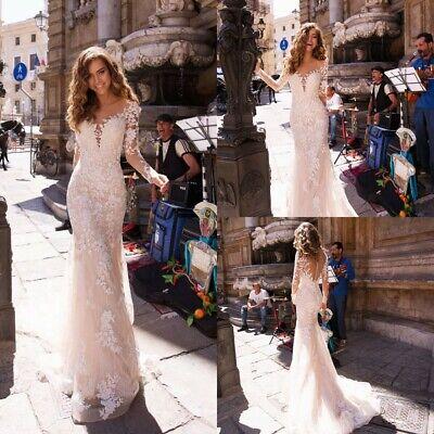 Sheath Wedding Dresses White Ivory Bridal Gown Long Sleeve Lace Applique Mermaid Long Sleeve Bridal Dresses